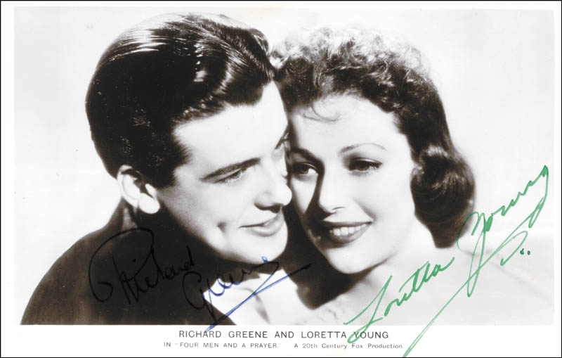 Image 1 for Four Men And A Prayer Movie Cast - Picture Post Card Signed co-signed by: Richard Greene, Loretta Young - HFSID 100111