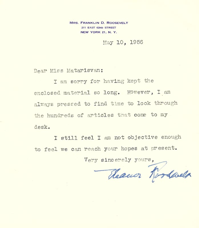 Image 1 for First Lady Eleanor Roosevelt - Typed Letter Signed 05/10/1956 - HFSID 100135