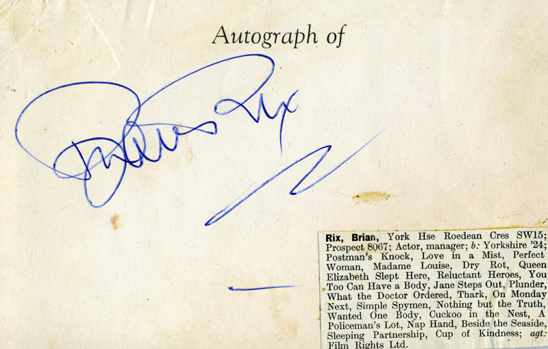 Image 1 for Brian Rix - Autograph - HFSID 100208
