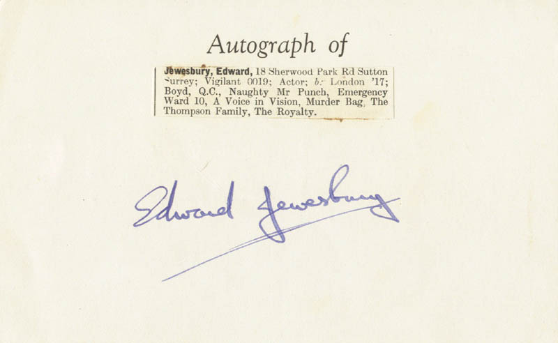 Image 1 for Edward Jewesbury - Autograph - HFSID 100221