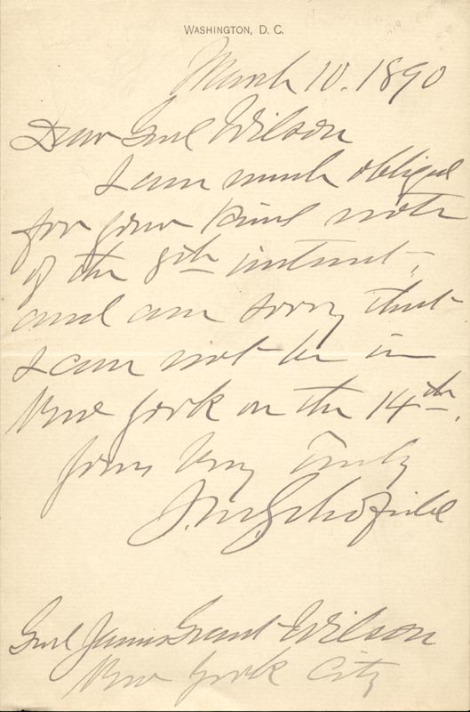 Image 1 for Lt. General John M. Schofield - Autograph Letter Signed 03/10/1890 - HFSID 100299