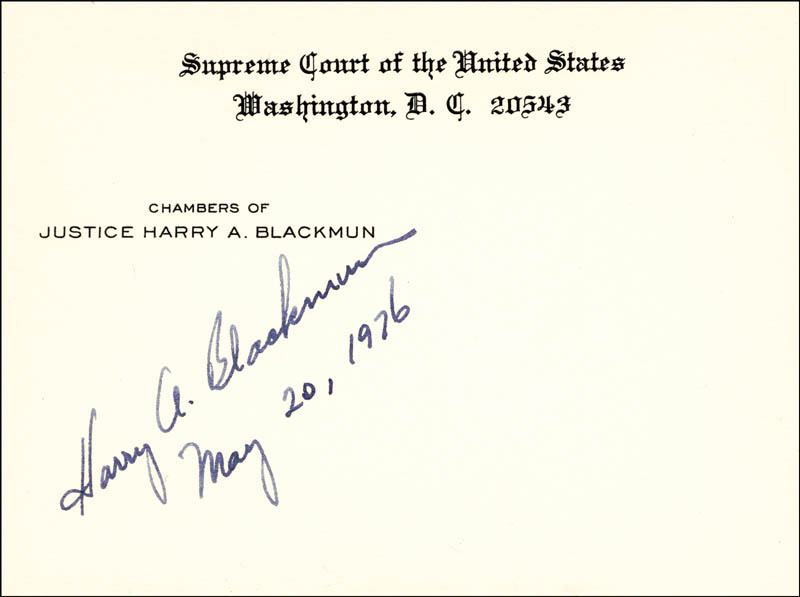 Image 1 for Associate Justice Harry A. Blackmun - Supreme Court Card Signed 05/20/1976 - HFSID 100405