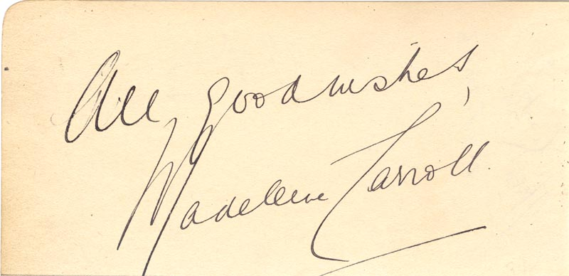 Image 1 for Madeleine Carroll - Autograph Sentiment Signed - HFSID 100522