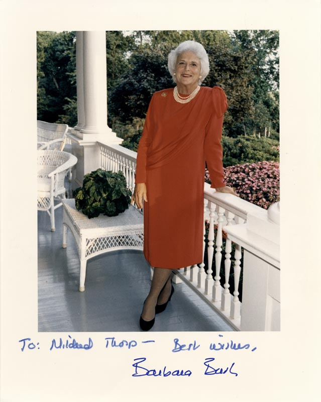 Image 1 for First Lady Barbara Bush - Autographed Inscribed Photograph - HFSID 100596