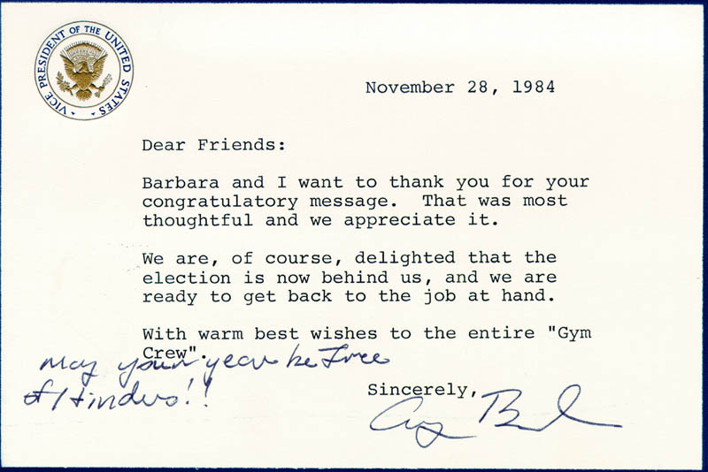 Image 1 for President George H.W. Bush - Typed Letter Signed 11/28/1984 - HFSID 100603