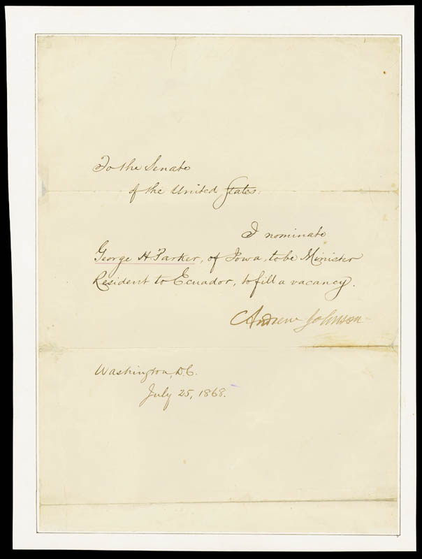 Image 1 for President Andrew Johnson - Manuscript Document Signed 07/25/1868 - HFSID 100624