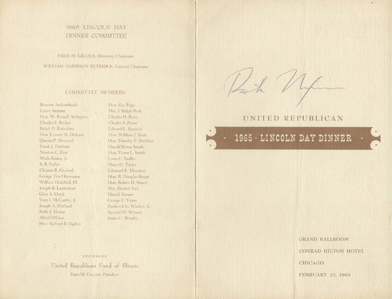 Image 1 for President Richard M. Nixon - Program Signed Circa 1965 - HFSID 100672