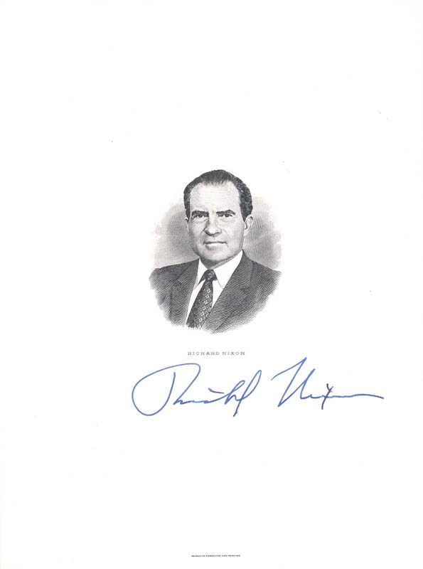Image 1 for President Richard M. Nixon - Engraving Signed - HFSID 100678