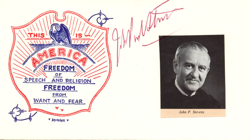 Image 1 for Associate Justice John Paul Stevens - Commemorative Envelope Signed - HFSID 100843