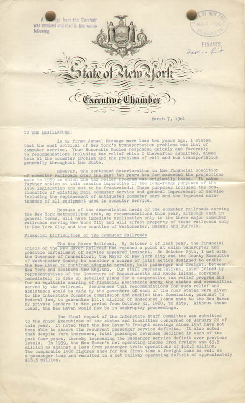 Image 3 for Vice President Nelson A. Rockefeller - Document Signed 03/07/1961 - HFSID 100891