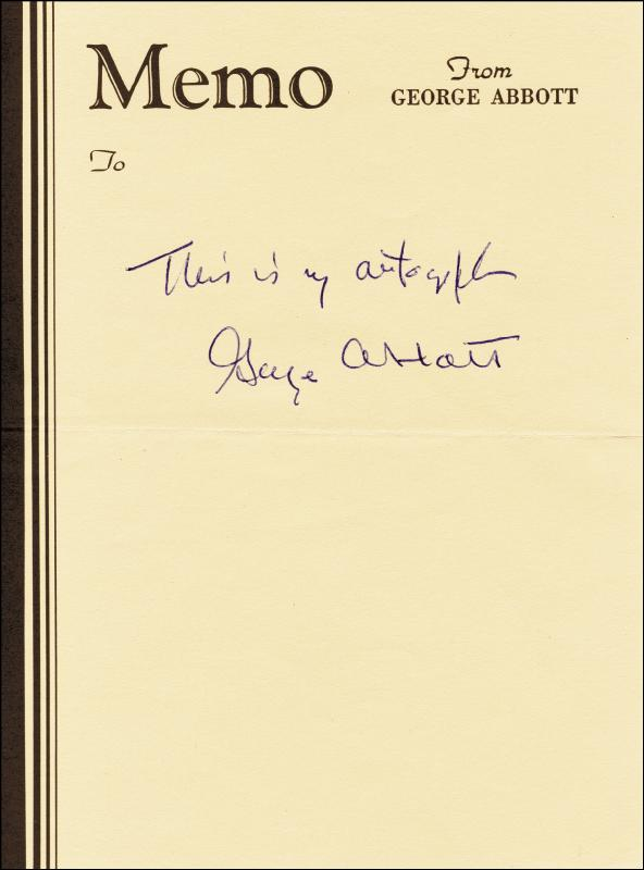 Image 1 for George F. Abbott - Autograph Sentiment Signed - HFSID 100997