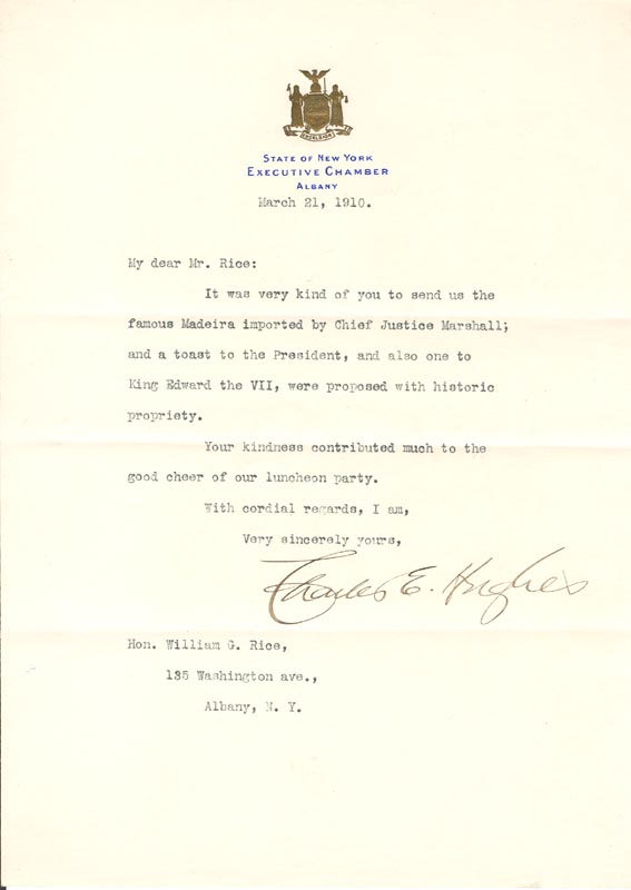 Image 1 for Chief Justice Charles E Hughes - Typed Letter Signed 03/21/1910 - HFSID 101297