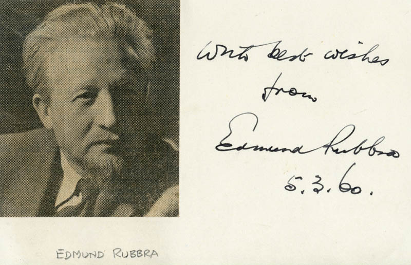 Image 1 for Edmund Charles Rubbra - Autograph Sentiment Signed 03/05/1960 - HFSID 101445