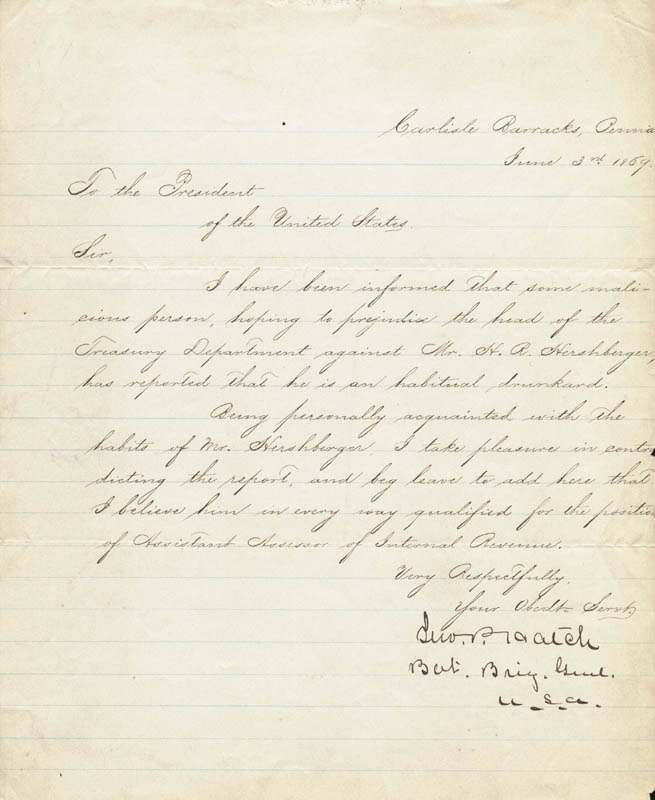 Image 1 for Major General John Porter Hatch - Manuscript Letter Signed 06/03/1869 - HFSID 101512