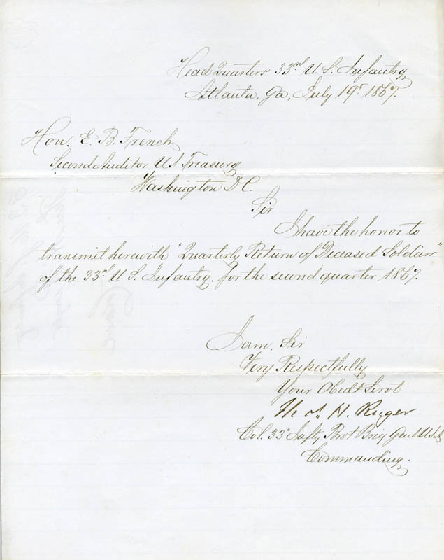 Image 1 for Major General Thomas H. Ruger - Manuscript Letter Signed 07/19/1867 - HFSID 101515
