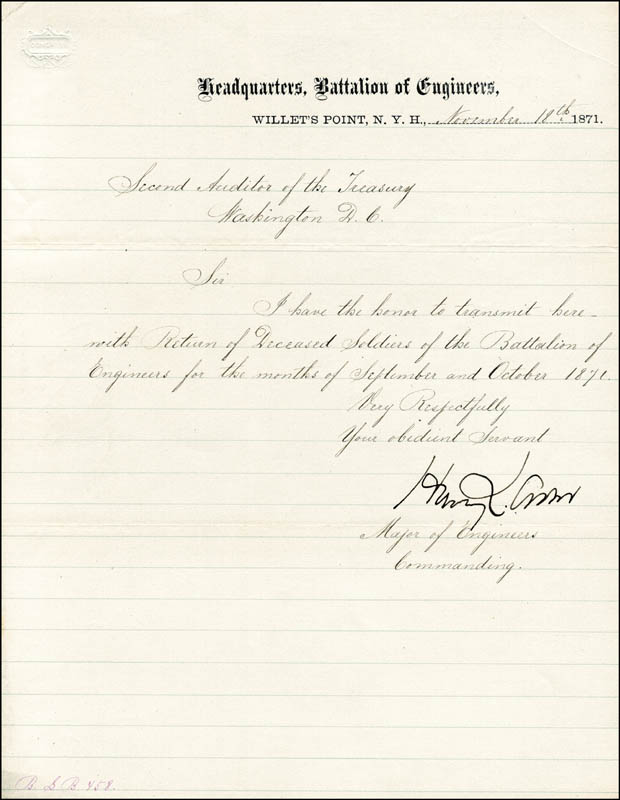 Image 1 for Brigadier General Henry L. Abbot - Manuscript Letter Signed 11/18/1871 - HFSID 101517