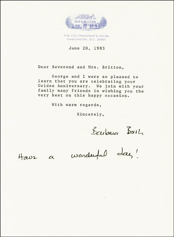 Image 1 for First Lady Barbara Bush - Typed Letter Signed 06/20/1983 - HFSID 101550