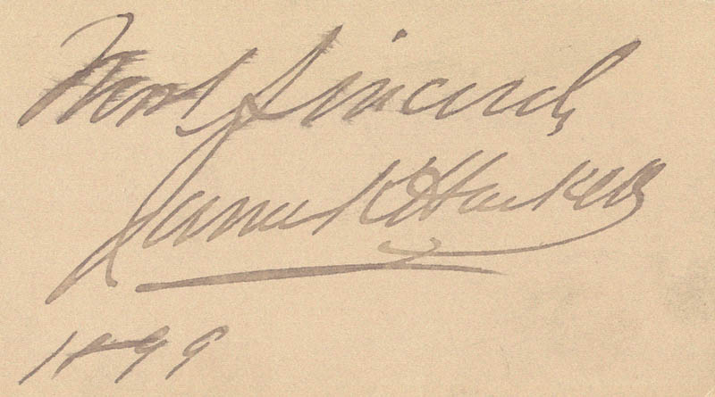 Image 1 for James K. Hackett - Autograph Sentiment Signed 1899 - HFSID 101630