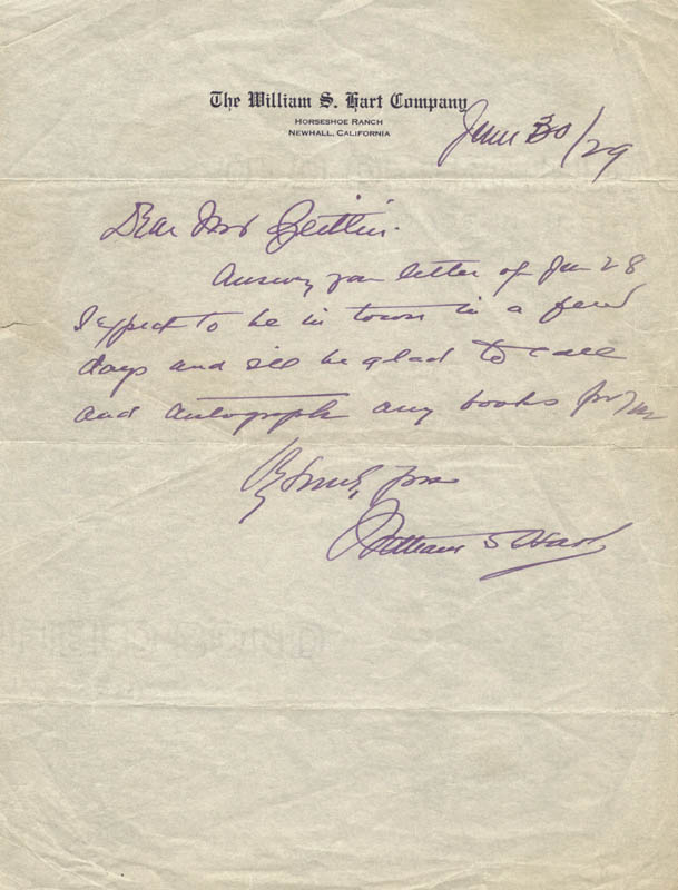 Image 1 for William S. Hart - Autograph Note Signed 06/30/1929 - HFSID 101971