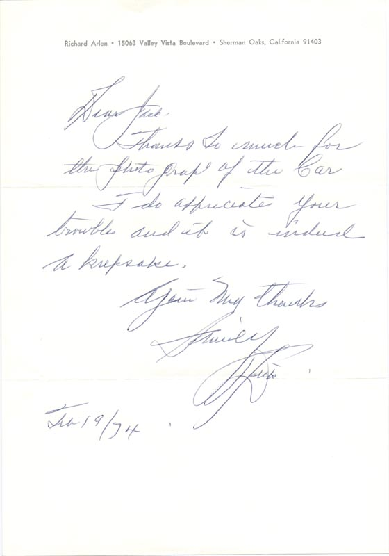 Image 1 for Richard Arlen - Autograph Letter Signed 02/19/1974 - HFSID 101972