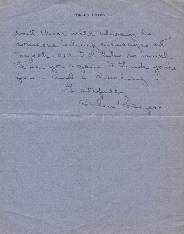 Image 1 for Helen Hayes - Autograph Letter Signed 06/13/1944 - HFSID 101993