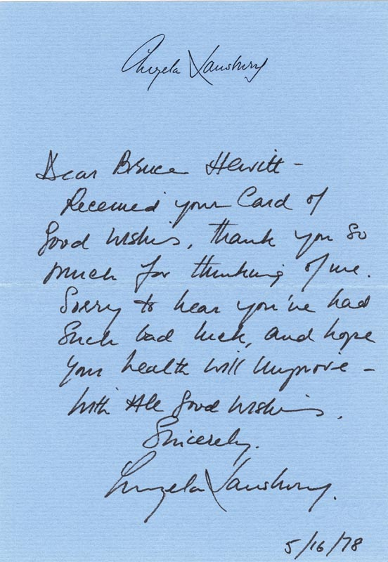 Image 1 for Angela Lansbury - Autograph Letter Signed 05/16/1978 - HFSID 101995
