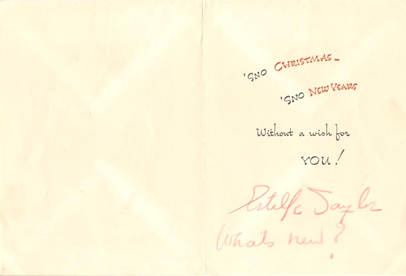 Image 1 for Estelle Taylor - Christmas / Holiday Card Signed 12/20/1950 - HFSID 102002