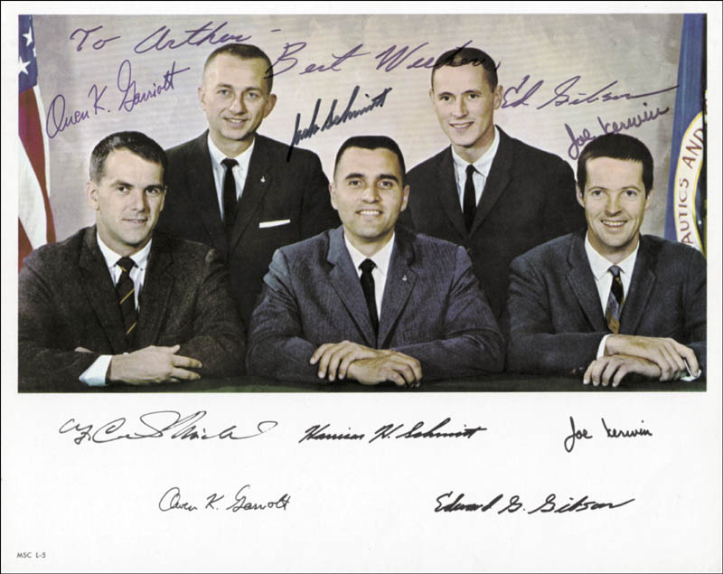 Image 1 for Harrison 'Jack' Schmitt - Autographed Inscribed Photograph co-signed by: Captain Joseph Kerwin, Edward G. Gibson, Owen K. Garriott - HFSID 102109
