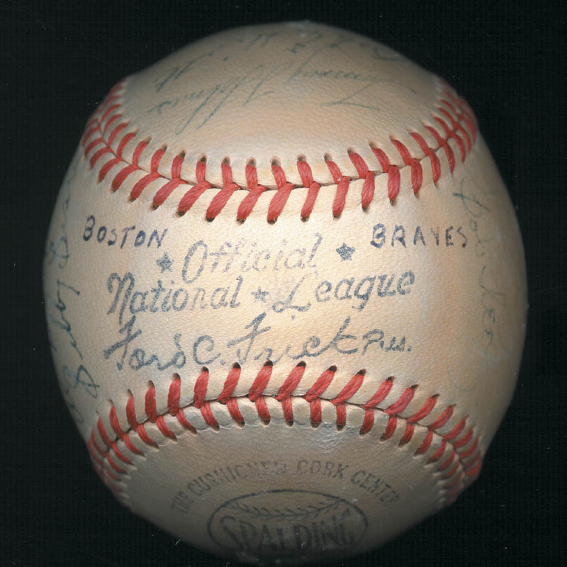 Image 8 for The Boston Braves - Autographed Signed Baseball Circa 1948 with co-signers - HFSID 102548
