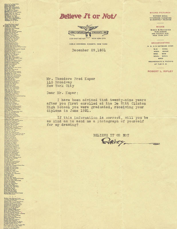 Image 1 for Robert 'Believe It Or Not!' Ripley - Typed Letter Signed 12/29/1931 - HFSID 102619