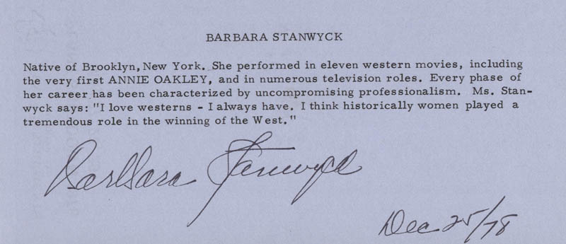 Image 1 for Barbara Stanwyck - Biography Signed 12/25/1978 - HFSID 1071