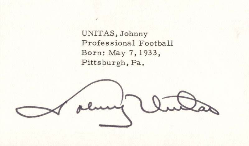 Image 1 for Johnny Unitas - Autograph - HFSID 1074