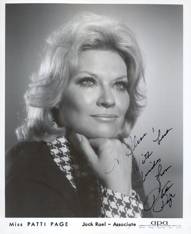 Image 1 for Patti Page - Autographed Inscribed Photograph - HFSID 1121