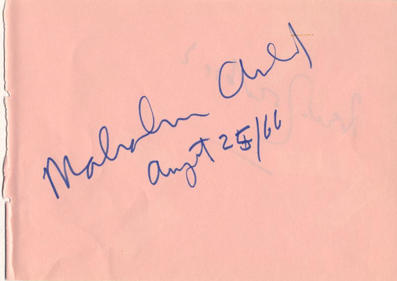 Image 1 for Sir Malcolm Arnold - Autograph 08/25/1966 - HFSID 112286