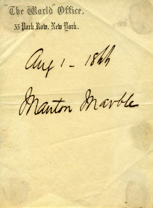 Image 1 for Manton Marble - Autograph 08/01/1866 - HFSID 112399