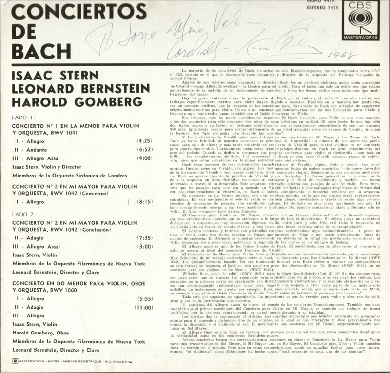 Image 3 for Isaac Stern - Inscribed Record Album Sleeve Signed 1968 - HFSID 112468