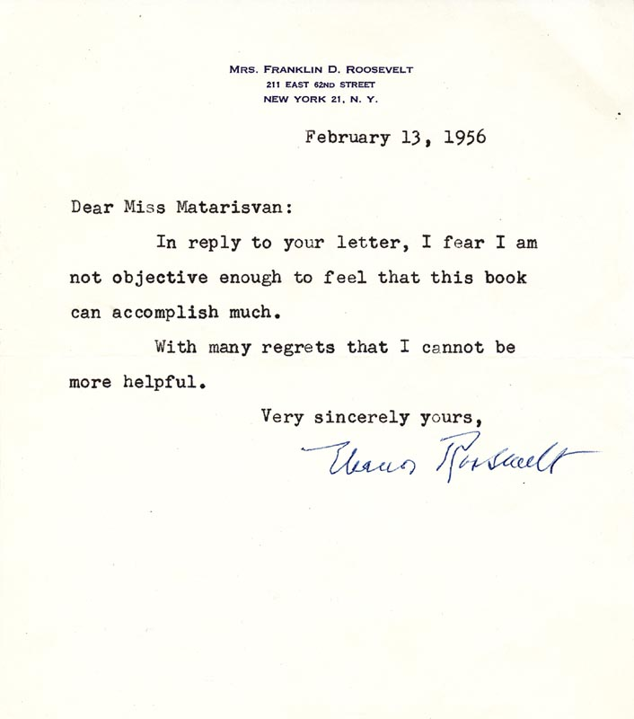 Image 1 for First Lady Eleanor Roosevelt - Typed Letter Signed 02/13/1956 - HFSID 112572