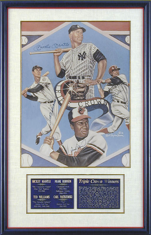 Image 1 for Mickey Mantle - Printed Art Signed In Ink co-signed by: Ted Williams, Frank Robinson, Carl 'Yaz' Yastrzemski - HFSID 113462