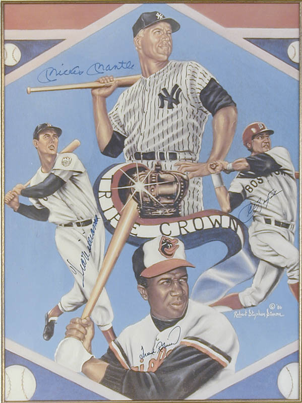 Image 3 for Mickey Mantle - Printed Art Signed In Ink co-signed by: Ted Williams, Frank Robinson, Carl 'Yaz' Yastrzemski - HFSID 113462