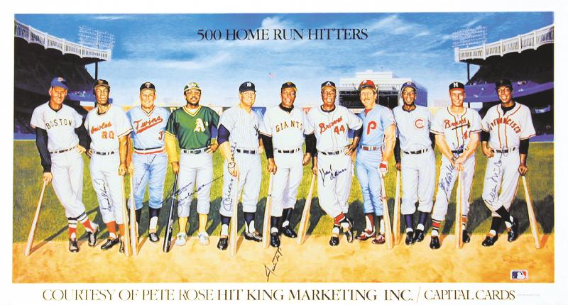 Image 1 for 500 Home Run Hitters - Printed Art Signed In Ink with co-signers - HFSID 113468
