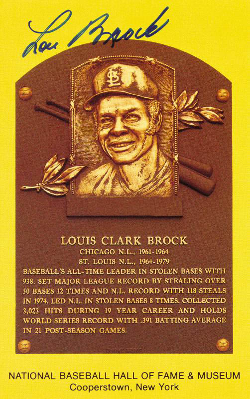 Image 1 for Lou Brock - Baseball Hall Of Fame Plaque Postcard Signed - HFSID 113602