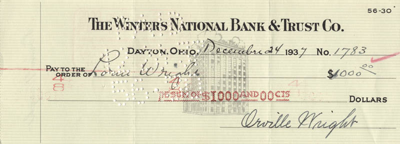 Image 1 for Orville Wright - Autographed Signed Check 12/24/1937 co-signed by: Lorin Wright - HFSID 11363
