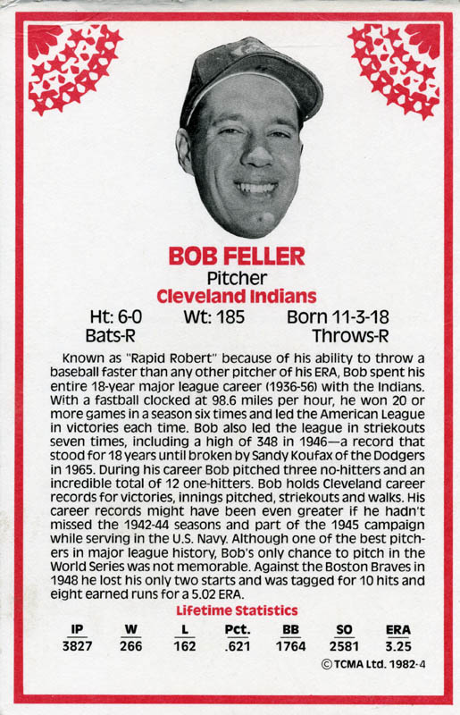 Image 3 for Bob Feller - Trading/Sports Card Signed - HFSID 113839