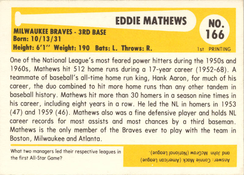 Image 3 for Eddie Mathews - Trading/Sports Card Signed - HFSID 113957