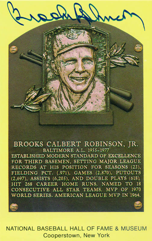 Image 1 for Brooks Robinson - Baseball Hall Of Fame Plaque Postcard Signed - HFSID 114984