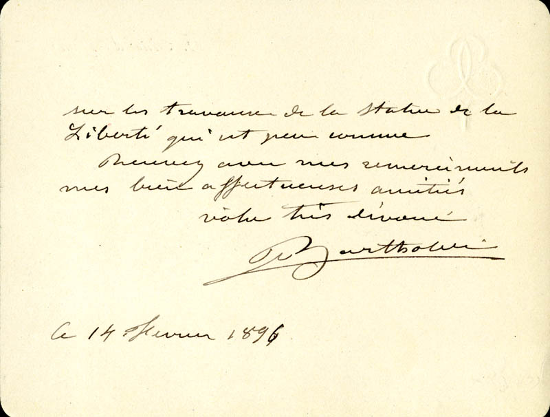 Image 1 for Frederic A. Bartholdi - Autograph Letter Signed 02/14/1896 - HFSID 1243