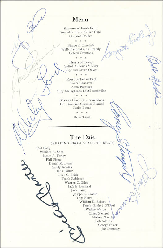 Image 1 for Mickey Mantle - Menu Signed Circa 1967 with co-signers - HFSID 124865