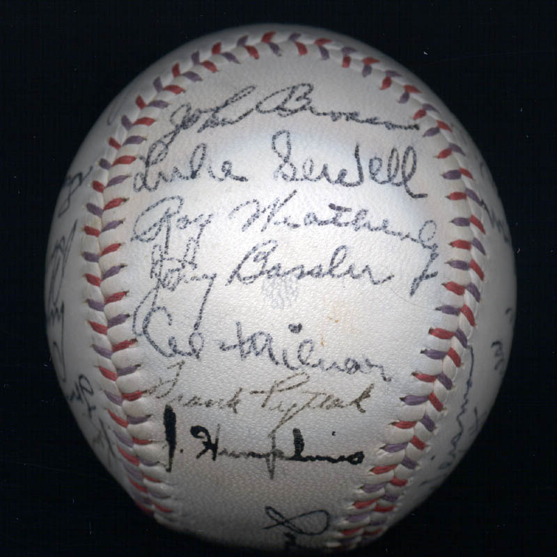 Image 6 for The Cleveland Indians - Autographed Signed Baseball Circa 1939 with co-signers - HFSID 124891