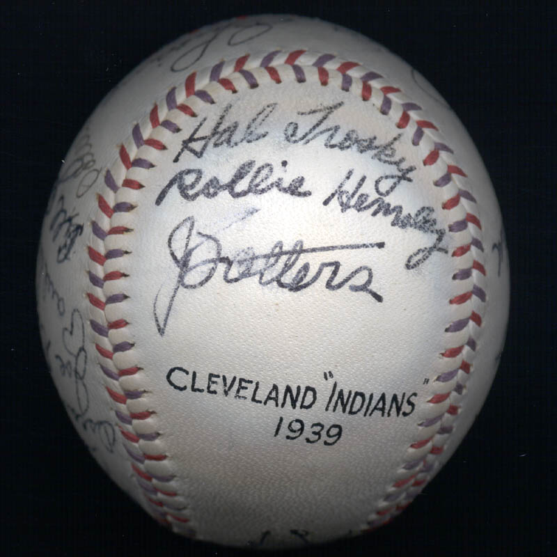 Image 7 for The Cleveland Indians - Autographed Signed Baseball Circa 1939 with co-signers - HFSID 124891