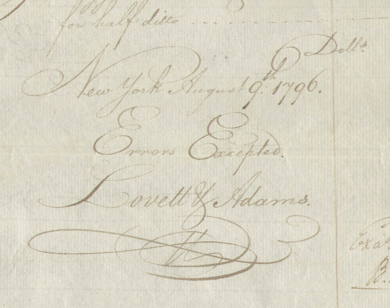 Image 3 for Lovett V. Adams - Autograph Document Signed 08/09/1796 - HFSID 1292